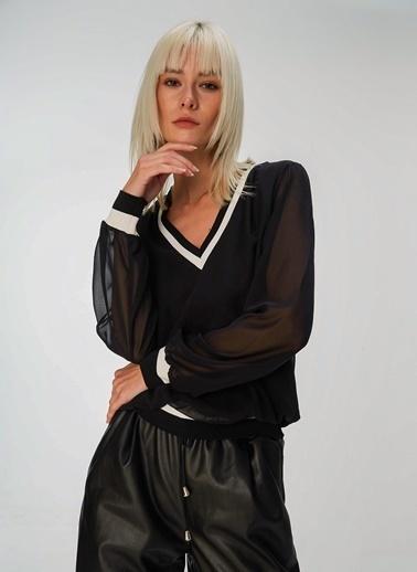 People By Fabrika Triko Bantlı Bluz Siyah